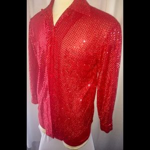 Other - Sequin Button Down Shirt size M/L in Red